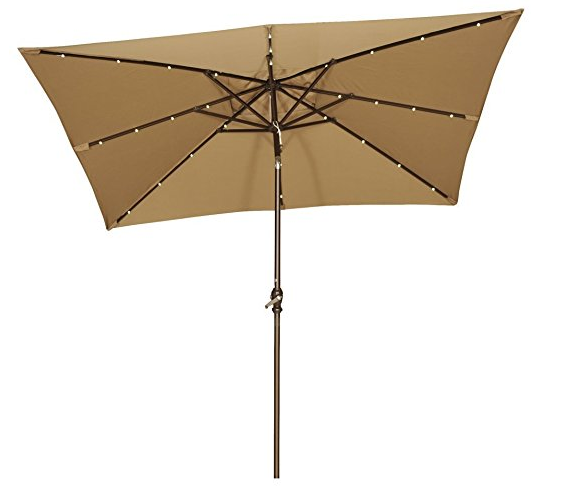 rectangular patio umbrella with solar lights Patio Umbrella with Solar Lights