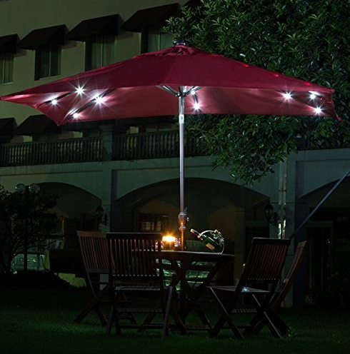 rectangular patio umbrella with solar lights Patio Umbrella with Solar Powered LED Lights 32