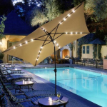 A Magical Evening – Rectangular Patio Umbrella With Solar Lights