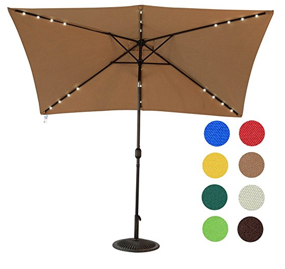 rectangular patio umbrella with solar lights Rectangular Patio Umbrella Tilt and Crank