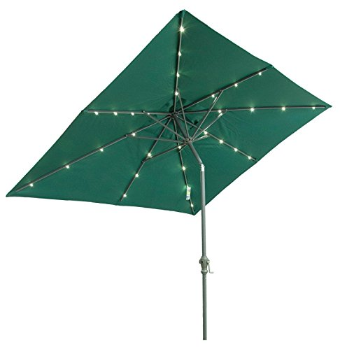 rectangular patio umbrella with solar lights Solar Powered Patio Umbrella Lights LED