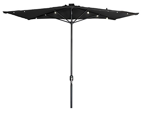 Rectangular Patio Umbrella With Solar Lights Solar Powered Rectangular Umbrella  Lights