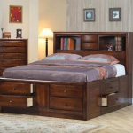 king storage bed with bookcase headboard