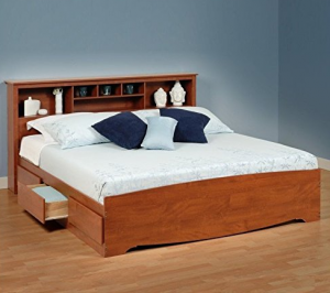 king storage bed with bookcase headboard King Platform Bed With Storage