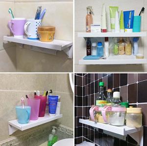 no drill shelves for the bathroom
